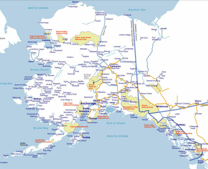 Map Of Alaska Alaska Fishing Lodges